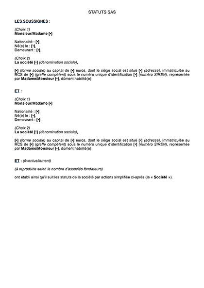 Modèle de statuts pour la création d'une SAS