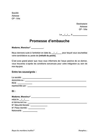 Modèle de lettre de promesse d'embauche