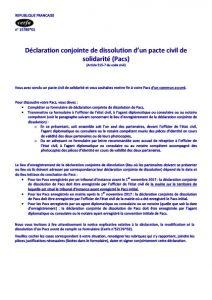 Dissolution conjointe d'un PACS