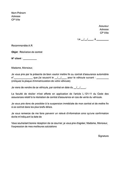 Résiliation d'un contrat d'assurance auto suite à une vente